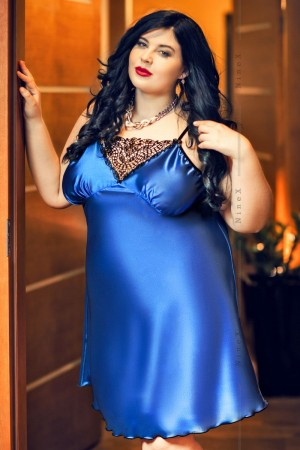 028 'Isla' Satin and Lace Chemise Blue  S-6XL